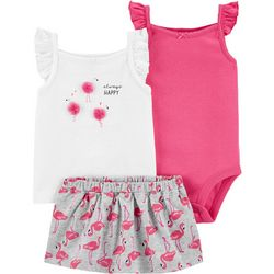 Baby Girls 3-pc. Flamingo Skort Set