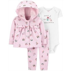 Baby Girls 3-pc. Floral Cardigan Layette Set