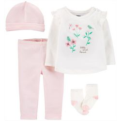 Baby Girls 4-pc. Floral Little And Loved Layette Set