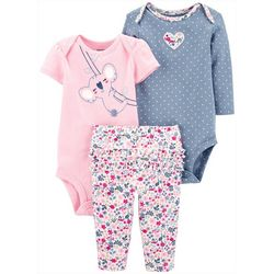 Baby Girls 3-pc. Koala Layette Set