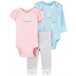 Baby Girls 3-pc. Beary Sweet Layette Set