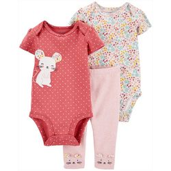 Baby Girls 3-pc. Floral Mouse Layette Set
