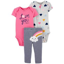Baby Girls 3-pc. Love Bodysuit Set