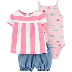 Carters Baby Girls 3-pc. Striped Alligator Shorts Set