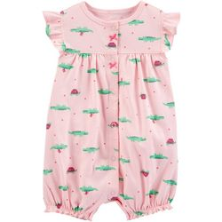 Baby Girls Alligator Print Romper