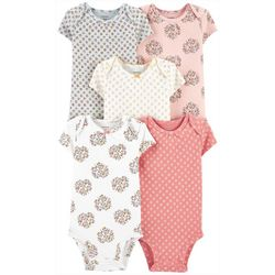 Carters Baby Girls 5-pk. Short Sleeve Floral Bodysuits