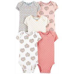 Baby Girls 5-pk. Short Sleeve Floral Bodysuits