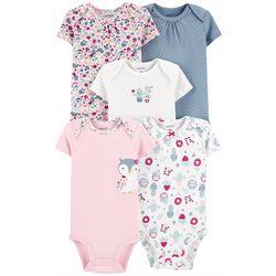 Baby Girls 5-pk. Floral Owl Bodysuits