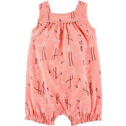 Carters Baby Girls Flamingo Print Romper
