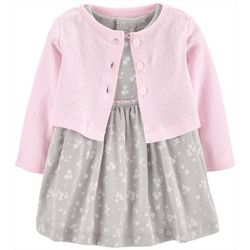Carters Baby Girls Floral Bodysuit Dress & Cardigan Set