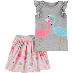 Toddler Girls 2-pc. Flamingo Tee & Skort Set