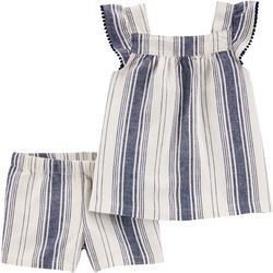 Toddler Girls Linen Stripe Shorts Set