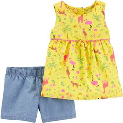 Toddler Girls Tropical Tank & Chambray Shorts Set