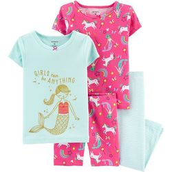 Baby Girls 4-pc. Mermaid & Unicorn Sleepwear Set