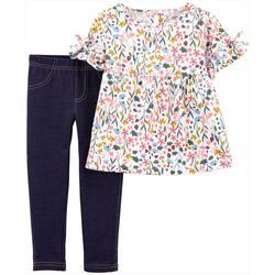 Toddler Girls Floral Top & Leggings Set