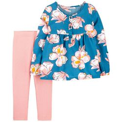 Carters Toddler Girls Long Sleeve Floral Leggings Set