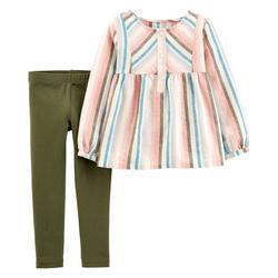 Toddler Girls Long Sleeve Multi Stripe Leggings Set