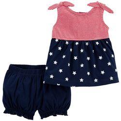 Carters Baby Girls 2-pc. Americana Stars & Stripe Short Set
