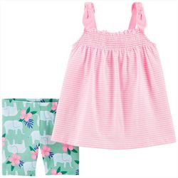 Carters Baby Girls 2-pc. Elephant Short Set
