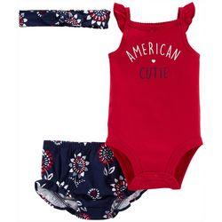 Carters Baby Girls 3-pc. American Cutie Short Set