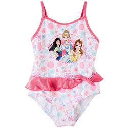 Disney Princess Little Girls Floral Ruffle Swimsuit