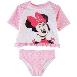Disney Minnie Mouse Baby Girls 2-pc. Polka Dot Rashguard Set