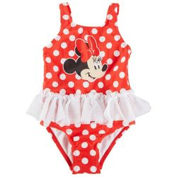 Disney Minnie Mouse Baby Girls Polka Dot Ruffle Swimsuit