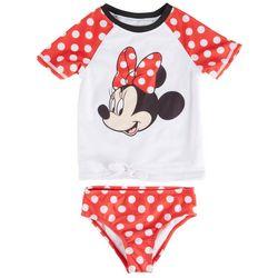 Disney Minnie Mouse Toddler Girls 2-pc. Dot Rashguard Set