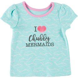 Chubby Mermaids Baby Girls Cropped Shell Manatee T-Shirt