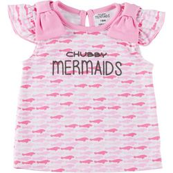 Chubby Mermaids Baby Girls Short Sleeve Manatee T-Shirt