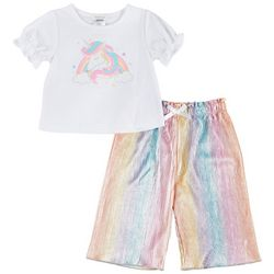 Forever Me Toddler Girls 2-pc. Unicorn Rainbow Gaucho