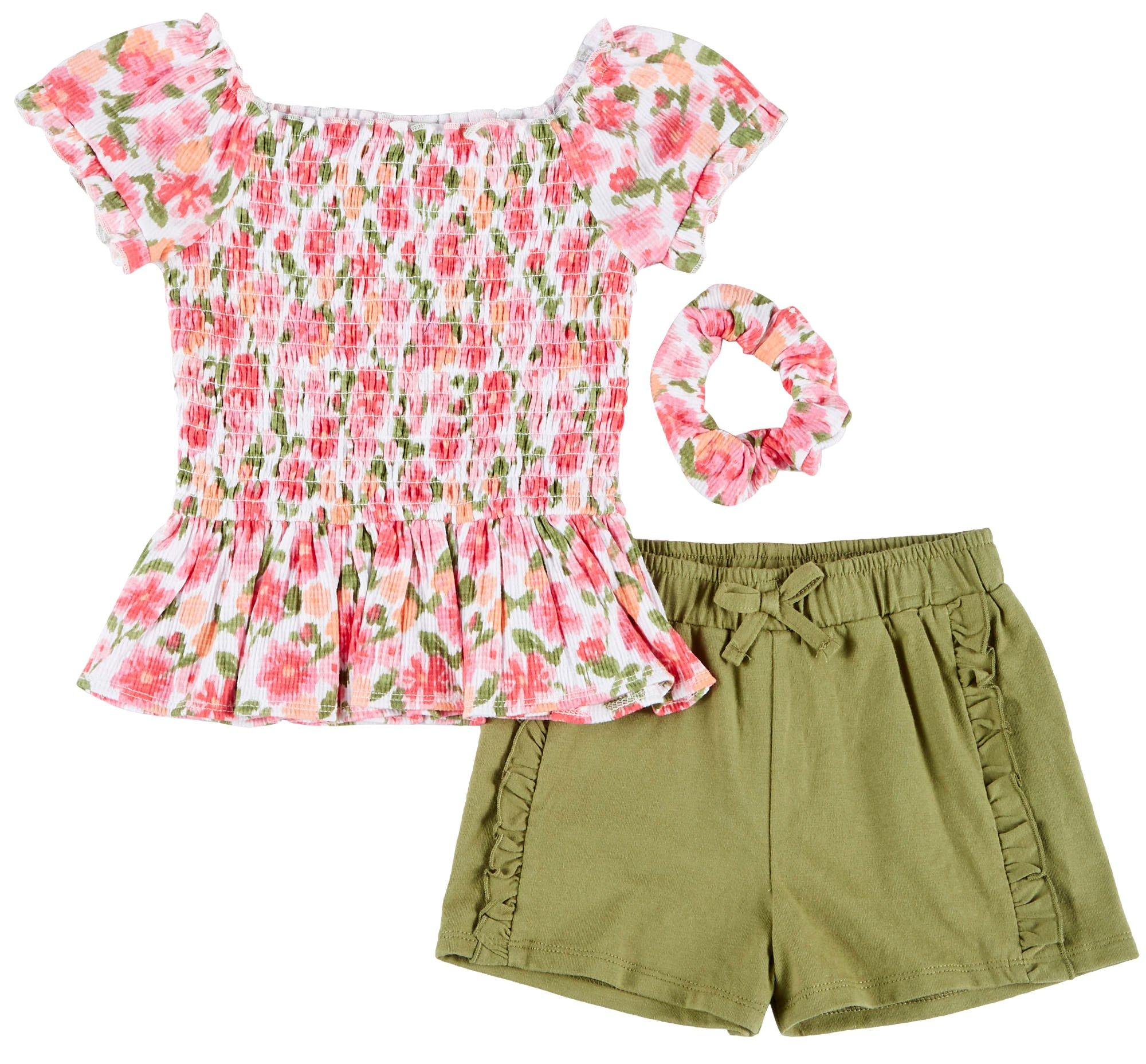 One Step Up Girls Tropical 3-Piece Shorts Set Outfit