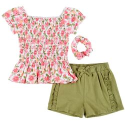 Toddler Girls 3-pc. Smocked Floral Shorts set