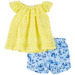 Forever Me Toddler Girls Crochet Top & Shorts Set