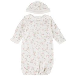 Baby Girls Vintage Floral Sleep Gown & Beanie Set