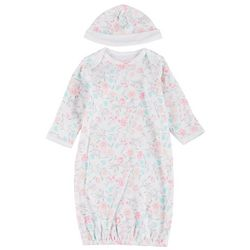Little Me Baby Girls Floral Sleep Gown & Beanie Set