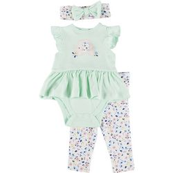 Little Me Baby Girls Elephant Peplum Bodysuit Set