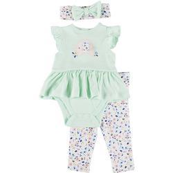 Baby Girls Elephant Peplum Bodysuit Set