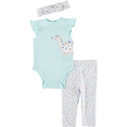 Little Me Baby Girls 3-pc. Dino Hearts Pant Set