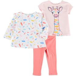 Little Me Baby Girls 3-pc. Giraffe Pant Set