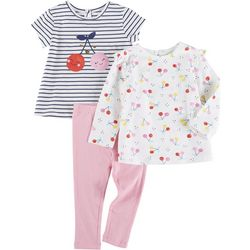 Little Me Baby Girls 3-pc. Cherry Stripe Pant Set