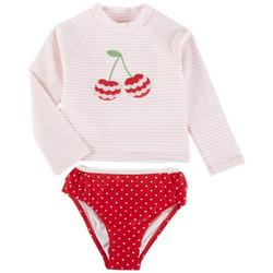 Baby Girls 2-pc. Cherry Rashguard Swimsuit Set