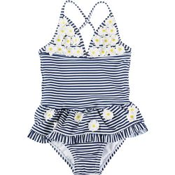Little Me Baby Girls Striped Daisy Swimsuit