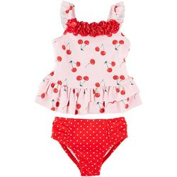 Little Me Baby Girls 2-pc. Cherry Ruffle Swimsuit
