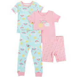 Baby Girls 4-pc. Rainbow Pajama Set