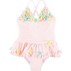 Little Me Baby Girls Striped Floral Swimsuit