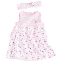 Little Me Baby Girls Flamingo Bodysuit Dress