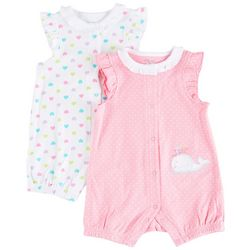 Little Me Baby Girls 2-pk. Whale & Heart Romper Set
