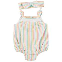 Little Me Baby Girls Stripe Ruffle Romper