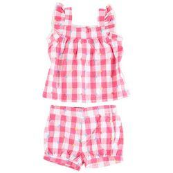 Little Me Baby Girls 2-pc. Gingham Woven Short Set